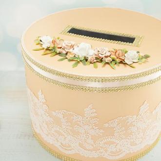 Сундук для денег персиковый / Скриня для грошей персикова / Коробка весільна оранжева