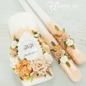 Венчальные свечи / Свечи для свадьбы / Свечи персивые / Персиковые свечи для свадьбы