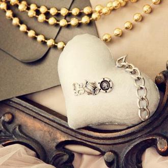 Серебряное текстильное сердце в стиле стимпанк