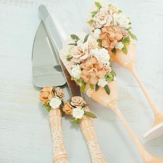 Бокалы персиковые / Персикові бокали для весілля / Фужери для весілля