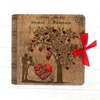 Деревянный фотоальбом с любыми надписями