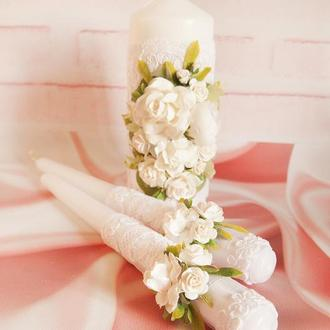 Венчальные свечи / Свечи для свадьбы / Свечи белые / Білі свічі для весілля / Вінчальні свічки білі