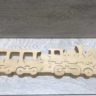 Дерев'яна іграшка пазл поїзд з вагонами. Деревяна іграшка пазл поїзд з вагонами
