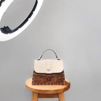 Новогодний подарок!  Женская стильная сумка Figlimon SKETCH| бежевая