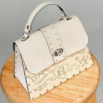 Дизайнерская женская деревянная сумочка Figlimon SKETCH с крышкой из эко-кожи |бежевая