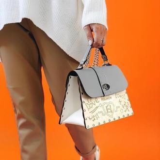 Осеняя деревянная женская сумочка Figlimon SKETCH| серая