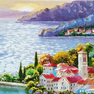 """Картина маслом """"Морской закат"""" Средиземноморье, 40 х 30 см"""