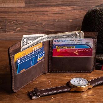 Мужской кошелек Ник из натуральной кожи в коричневом цвете, 10 цветов на выбор 0038