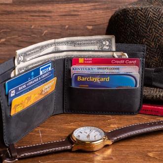 Кожаный кошелек Ник из натуральной кожи в черном цвете, 10 цветов на выбор 0038