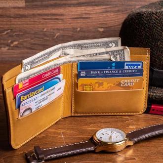 Кожаный мужской кошелек Ник из натуральной кожи в желтом цвете, 10 цветов на выбор 0038