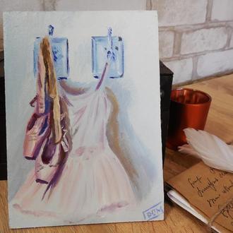 """Картина маслом """"Пуанты и платье в ожидании"""""""