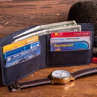Кожаный кошелек Ник в синем цвете из натуральной кожи, 10 цветов на выбор 0038