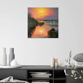 Закат живопись 40х40, озеро маслом, картина лодка, вечерний пейзаж, картины Людмила Рябкова
