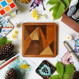 Пазл Танграм Архімеда дерев'яний, деревянный пазл Танграм Архимеда