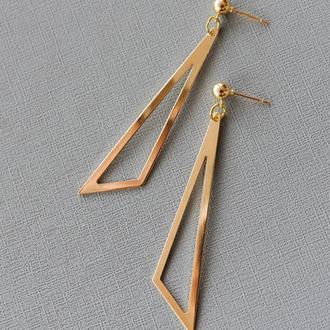 Серьги Геометрия треугольники золото