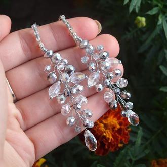 Свадебные серьги для невесты ,украшение на свадьбу,украшения на выпусной, сережки
