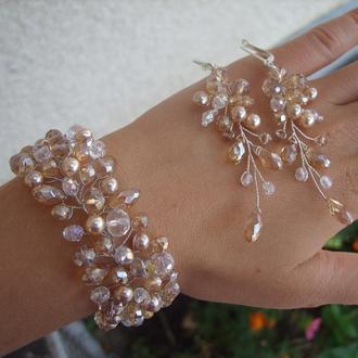 Свадебные браслеты, свадебные украшения, украшение для невесты, украшение  в прическу невесте