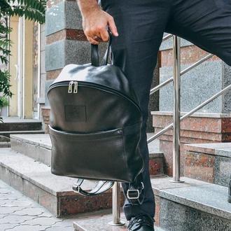 """Черный кожаный мужской рюкзак для города """"Матрикс"""""""
