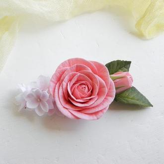 Гребень для волос с цветами, Заколка с пудровой розой