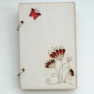 Блокнот с деревянной обложкой Мальвы