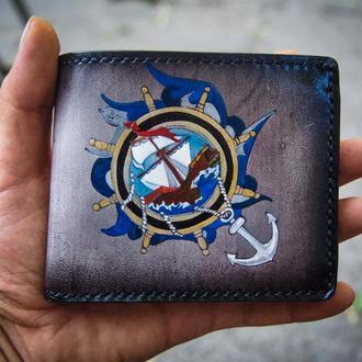Кошелек корабль, морской кошелек, подарок моряку, мягкий кошелек,  кошелек с кораблем