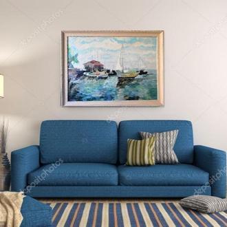 Морской пейзаж 60х70см, корабли, парусник, вода живопись, картина в багете Людмила Рябкова