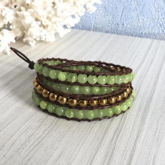 Кожаный браслет в стиле Chan Luu с ониксом и золотистыми бусинами