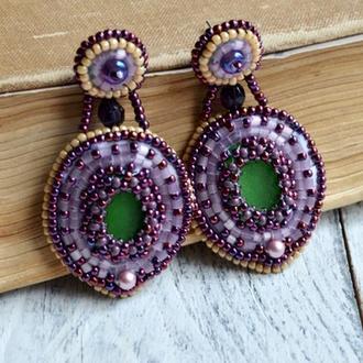 Зелено - фіолетові сережки - цвяшки з морським склом, Вишиті бісером сережки, Великі сережки