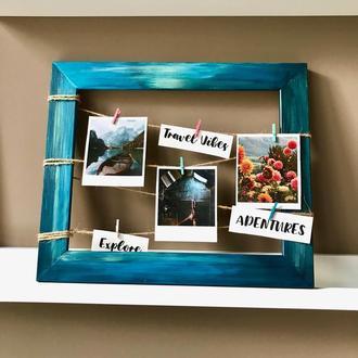 Фоторамка (деревянная фото рамка, эксклюзивная рамка, рамка с  росписью)