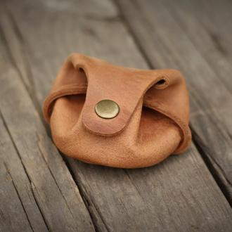 Мешочек/кошелек для мелочи из натуральной кожи