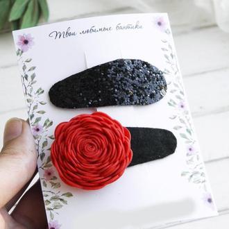 Детские заколки, Красная и черная заколки для малышки, Подарок девочке на день рождения