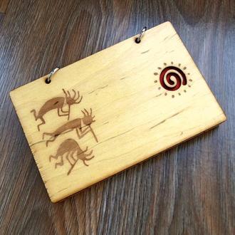 Блокнот с деревянной обложкой Ацтеки