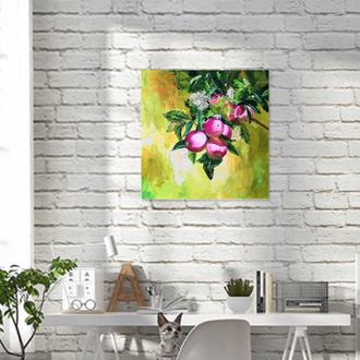 Яблоки живопись 40х40см, живопись фрукты, картина яблоня, натюрморт, реализм,картины Рябкова Людмила
