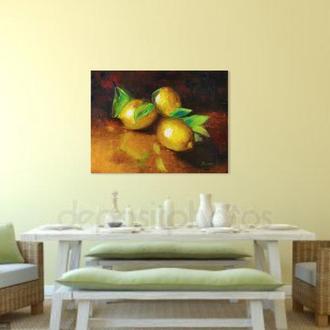 Натюрморт фрукты 30х40, картина лимоны, Живопись лимоны