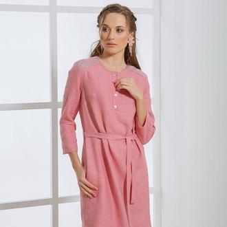 Розовое платье рубашка с серебреной вышивкой
