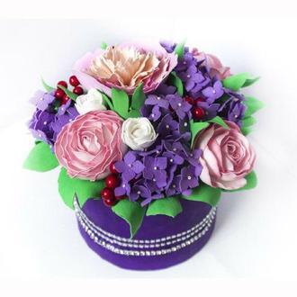 Шляпная коробка/ цветы из фоамирана/ шикарный подарок