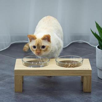 Столик DeKit.ua на две миски для кошек и мелких собак дубовый