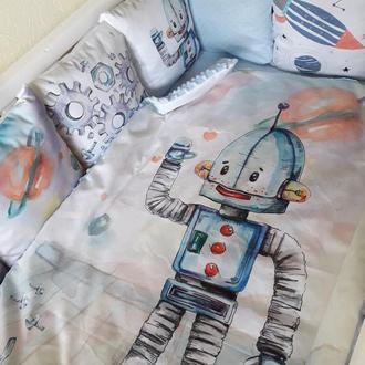 Комплект в детскую кроватку с роботами