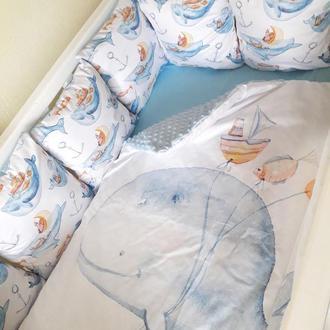 """Комплект в детскую кроватку """"Киты"""""""