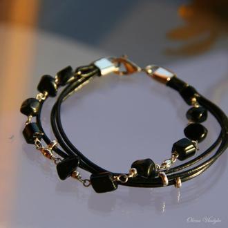 Серебряный браслет с турмалином, браслет с камнями, кожаный браслет с серебром и камнями