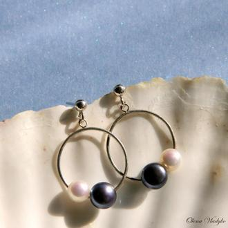 Серебряные серьги с жемчугом, серебряные серьги кольца, сережки с жемчугом