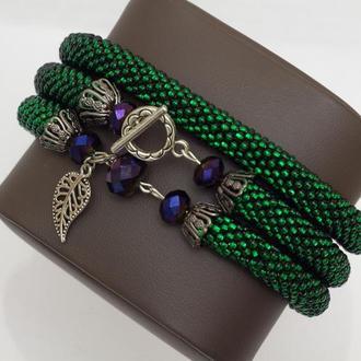 Зеленое колье и зеленый браслет из бисера. Комплект жгутов из бисера