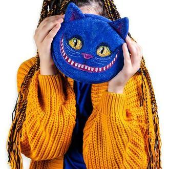 Синяя сумочка в виде Чеширского кота. Вышитая сумочка. Дизайнерская сумочка с вышивкой