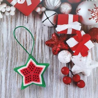 Новогодняя игрушка Звезда Арбуз из бисера