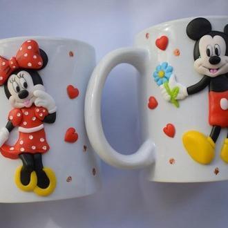 парные кружки, кружка микки маус, кружка с декором, чашка с декором, оригинальные чашки, кружка