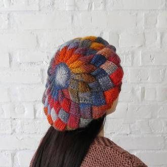 Объемный вязаный берет в оранжево синих цветах, женский берет на осень зиму купить, подарок женщине