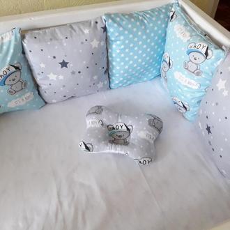 Комплект бортиков в детскую кроватку с Тедди