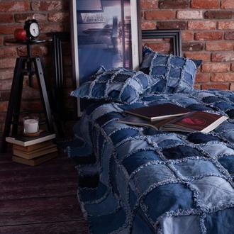 Двустороннее джинсовое покрывало с подушками Пэчворк Джинсовый квилт Подарок