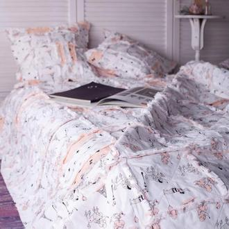 """Двухстороннее покрывало с подушками """"Пудель в Париже"""" Покрывало на кровать Пэчворк Квилт"""