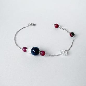 Тонкий браслет-цепочка из синего агата и турмалина  (модель № 558) JK jewelry